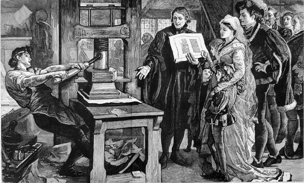 William Caxton showing off his mobile publishing platform to  King Edward IV and the Queen